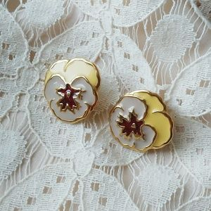 Vintage Avon Pansy Earrings Gold Plated & Enamel